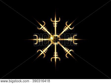 Helm Of Awe, Icelandic Magical Stave, Gold Vegvisir Runic Compass. Viking Symbols For The Purpose Of