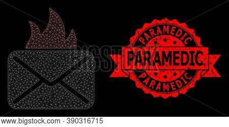 Mesh Polygonal Hot Mail On A Black Background, And Paramedic Rubber Ribbon Stamp Seal. Red Stamp Sea