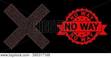Mesh Network Reject Cross On A Black Background, And No Way Dirty Ribbon Stamp. Red Stamp Includes N