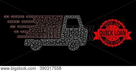 Mesh Polygonal Quick Delivery On A Black Background, And Quick Loan Grunge Ribbon Stamp Seal. Red Se