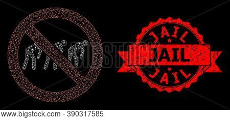 Mesh Polygonal Forbidden Slavery On A Black Background, And Jail Grunge Ribbon Seal Imitation. Red S