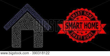 Mesh Net Home On A Black Background, And Smart Home Grunge Ribbon Stamp Seal. Red Seal Contains Smar