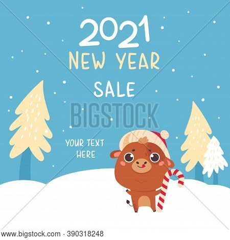 Cute Cartoon Ox With The Christmas Tree. Design For Greeting Cards, Advertising, Banners, Prints. Xm