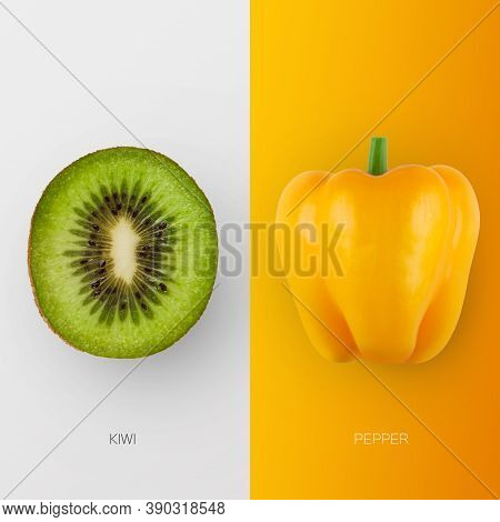 Fresh Kiwi And Bell Pepper Isolated On White And Yellow Background. Collage Of Fruit And Vegetable C