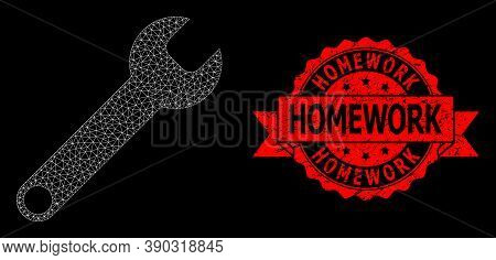 Mesh Net Spanner On A Black Background, And Homework Grunge Ribbon Stamp Seal. Red Stamp Seal Includ