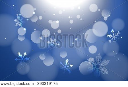 Winter Bokeh Background With Snowflakeswith White Bokeh Lights For Holiday Poster, Banner, Card. Sea