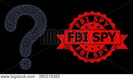 Mesh Web Question Mark On A Black Background, And Fbi Spy Rubber Ribbon Seal Print. Red Seal Has Fbi