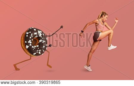 Slim Sporty Lady Running Away From Donut Character Training Losing Weight Exercising Over Pink Studi