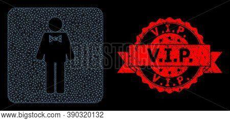 Mesh Polygonal Groom On A Black Background, And V.i.p. Unclean Ribbon Stamp Seal. Red Stamp Has V.i.