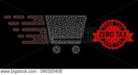 Mesh Polygonal Shopping Cart On A Black Background, And Zero Tax Textured Ribbon Seal. Red Seal Incl