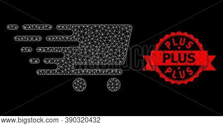 Mesh Network Shopping Cart On A Black Background, And Plus Corroded Ribbon Stamp. Red Stamp Seal Has