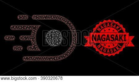 Mesh Polygonal Speed Core On A Black Background, And Nagasaki Textured Ribbon Seal Print. Red Stamp