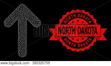 Mesh Net Up Arrow On A Black Background, And North Dakota Unclean Ribbon Seal Imitation. Red Seal Ha