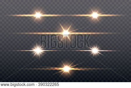 Lens Flare Set. Glowing Light Effect On Transparent Backdrop. Bright Stars Or Light Explodes. Sun Fl