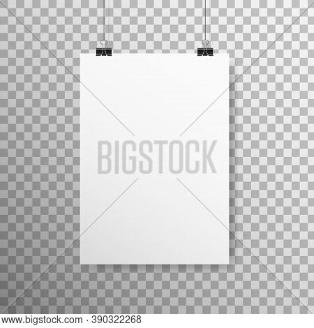 Poster Mockup Vertical. White Empty Paper With Clips. Realistic Sheet Hanging On Light Wall. A4 Blan