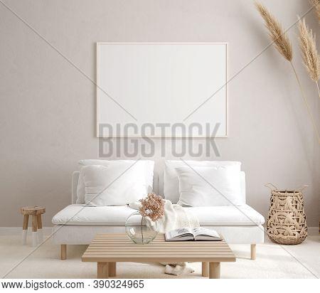 Mockup Frame In Interior Background, Room In Light Pastel Colors, Scandi-boho Style, 3d Illustration