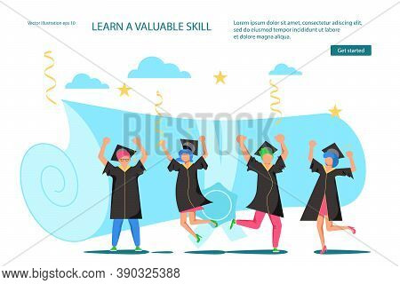 Landing Webpage Template Of Graduated. Tiny Students Wearing Academic Gown And Graduation Cap Celebr