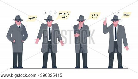 Mysterious Man Wearing A Gray Hat And Coat With A Raised Collar Solves The Riddle Or Problem. Speech
