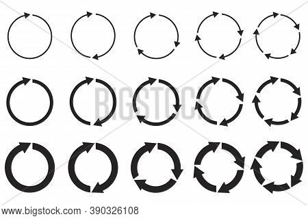 Vector Group Of Circular Arrows. Round Repeat Icons. Redo And Reload Symbol. Stock Image.