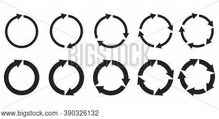 Round Sign. Circular Arrows. Set Of Different Circles With Arrows. Reload And Infographic Symbol. Ve