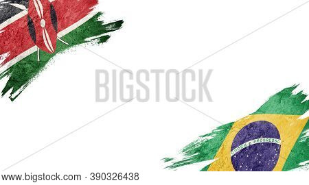 Flags Of Kenya And Brasil On White Background