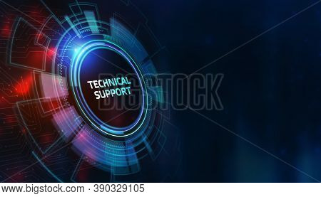 Business, Technology, Internet And Network Concept. Technical Support Center Customer Service. 3d Il