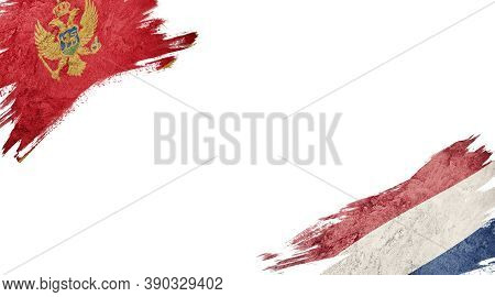 Flags Of Montenegro And Nederland On White Background