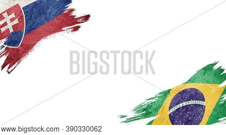 Flags Of Slovakia And Brasil On White Background