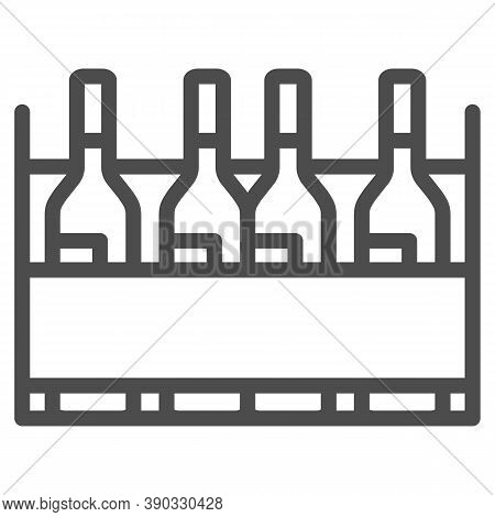 Box With Wine Bottles Line Icon, Wine Festival Concept, Wine Bottles In Case Sign On White Backgroun