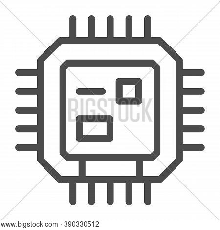 Central Processing Unit Line Icon, Robotization Concept, Cpu Sign On White Background, Computer Chip