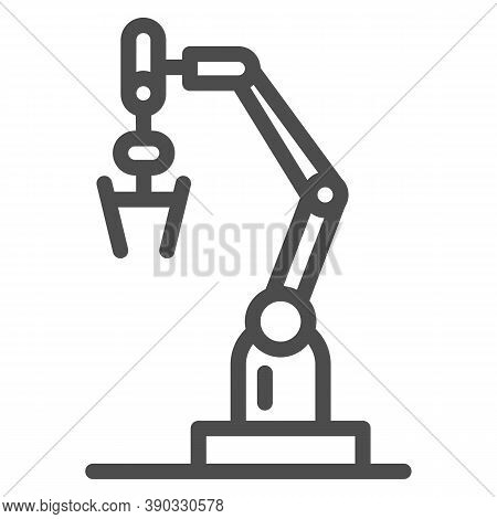 Robot Machine Line Icon, Robotization Concept, Robotic Hand Manipulator Sign On White Background, In
