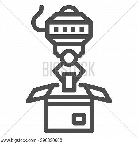 Robot Loader Line Icon, Robotization Concept, Robotic Packaging Sign On White Background, Industrial