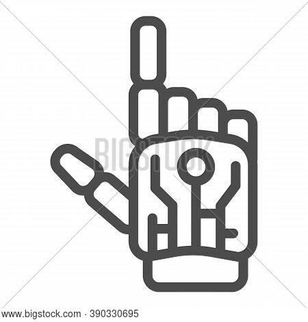 Robot Mechanical Arm Line Icon, Robotization Concept, Robotic Hand Sign On White Background, Robotic