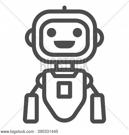 Cheerful Flying Robot Line Icon, Robotization Concept, Robot Toy Sign On White Background, Flying Ro