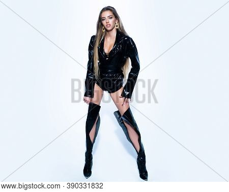 Sexy Woman Legs In High Black Boots. Mistress Lady, Kinky. Full Length Sexy Young Woman. Isolated On