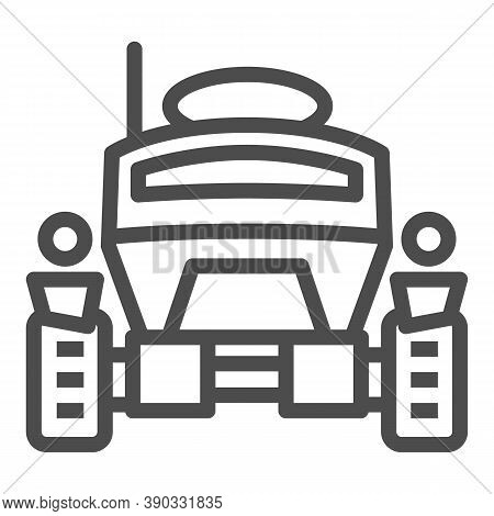 Lunar Robot Line Icon, Robotization Concept, Lunar Rover Sign On White Background, Space Rover Icon