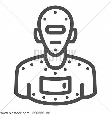 Steel Robot Line Icon, Robotization Concept, Cyborg Robot Sign On White Background, Robotic Man Silh