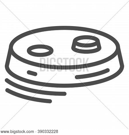 Robot Vacuum Cleaner Line Icon, Robotization Concept, Modern Cleaning Equipment Sign On White Backgr