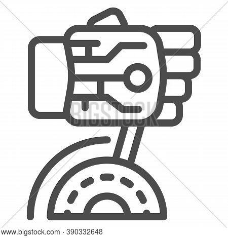 Robot Hand Turns On Switch Line Icon, Robotization Concept, Robotic Hand Sign On White Background, R