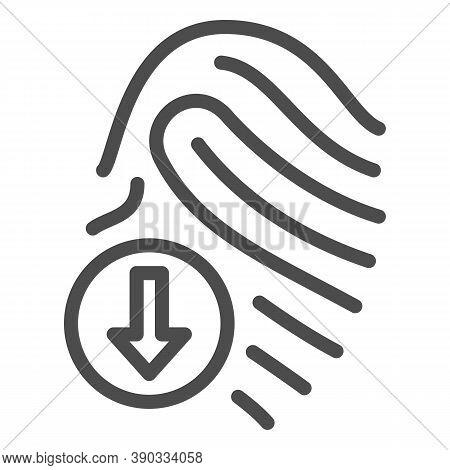 Fingerprint Scanner Line Icon, Robotization Concept, Identification With Finger Sign On White Backgr