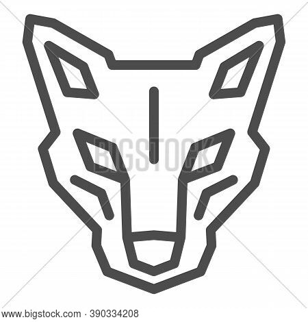 Robot Dog Head Line Icon, Robotization Concept, Robotic Wolf Sign On White Background, Head Of Robot