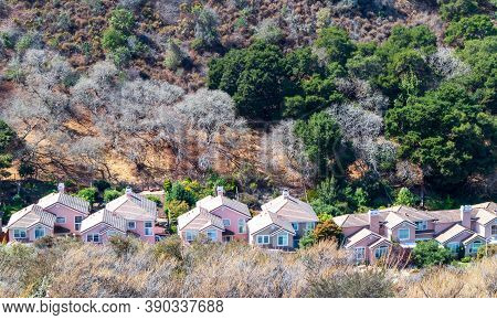 Valley Homes Panoramic View In Belmont, San Mateo County, California