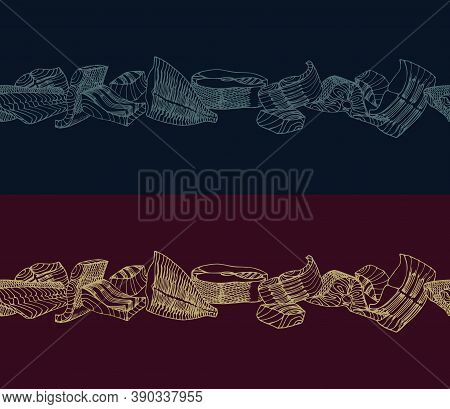 Horizontal Seamless Pattern. Fish Fillets Of Cod, Salmon, Flounder. Delicious Seafood. Restaurant Me
