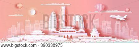 Travel Asia Landmarks Cityscape Of Beijing On Pink Background With Sailing Boat, Tour China With Pan