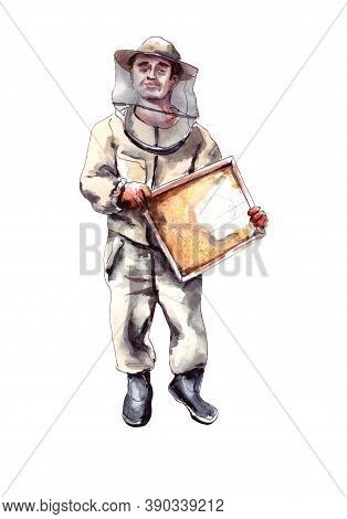 Watercolor Illustration.the Character Is A Peasant Beekeeper In A Protective Suit And Hat With A Hon