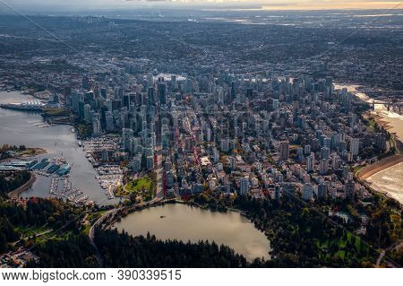 Downtown Vancouver, British Columbia, Canada. Aerial View Of The Modern Urban City, Stanley Park, Ha