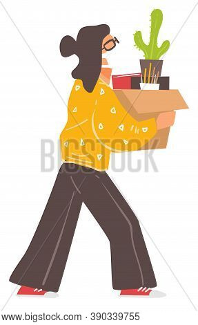 Woman Wearing Mask Carrying Box With Personal Belongings