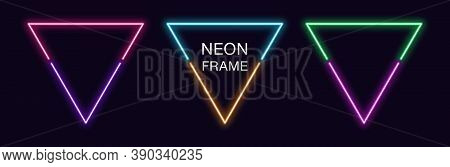 Neon Triangle Frame. Set Of Triangular Neon Border In 2 Outline Parts. Geometric Shape With Copy Spa