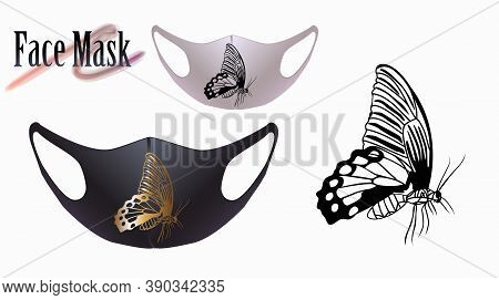 Vector Illustration Of Black And Gold Silhouette Of A Butterfly On A Face Mask. Beautiful Drawing Fo