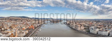 Aerial Drone Shot Of Daunube River Bank From Buda Side In Winter Budapest Morning